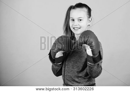 Rise Of Women Boxers. Girl Cute Boxer On Blue Background. With Great Power Comes Great Responsibilit