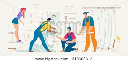Plumbing Repair Service Flat Vector Concept. Plumbers Team Trying To Stop House Flooding Because Of