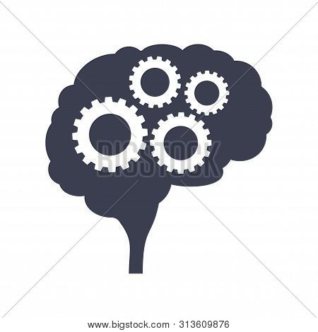 Brain With Gear Black Silhouette Side View. Mind, Creativity And Knowledge.
