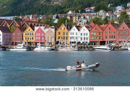 Bergen, Norway - July 28, 2018: View Of Historical Buildings In Bryggen- Hanseatic Wharf. Bryggen Ha