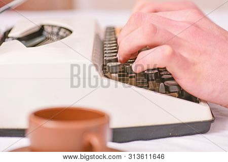 Hands Typing Retro Writing Machine. Old Typewriter And Authors Hands. Male Hands Type Story Or Repor