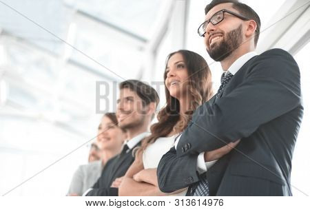 successful businessman on the background of business team