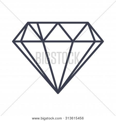 Diamond Outline Icon. Flat Vector Style Illustration