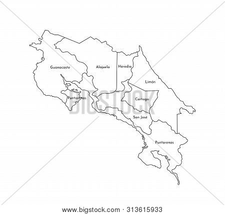 Vector Isolated Illustration Of Simplified Administrative Map Of Costa Rica. Borders And Names Of Th