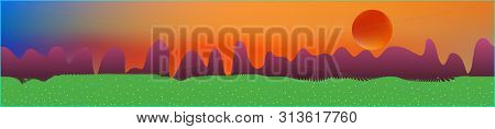 Fancy Sky, And Mountains Landscape. Light Glass Print Panaramic Design. Glass Print Skinali Light An