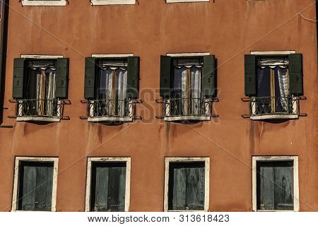 Tipical Windows In The Beautiful City Of Venice