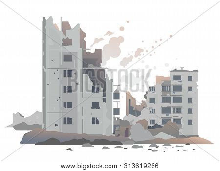 Eastern European Destroyed Buildings Between The Ruins And Concrete, War Destruction Concept Illustr