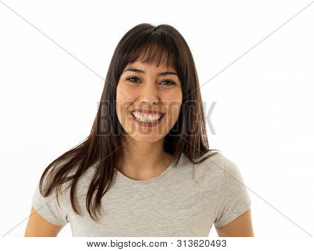 Close Up Of Young Attractive Cheerful Woman With Smiling Happy Face. Human Expressions And Emotions