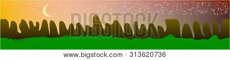 Fancy Sky, And Mountains Landscape. Texture Background Illustration Design. Colorful New Glass Print