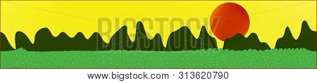 Yellow Sky, And Mountains Landscape. Plain Horizontal Background Illustration. Trendy Fairy Tale Pla