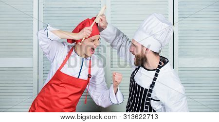 Cooking with your spouse can strengthen relationships. Ultimate cooking challenge. Couple compete in culinary arts. Woman and bearded man culinary partners. Reasons why couples cooking together poster