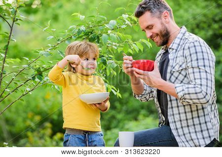 Healthy Nutrition Concept. Nutrition Habits. Family Enjoy Homemade Meal. Healthy Breakfast. Father S
