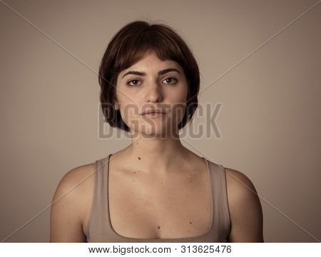 Portrait Of Sad And Depressed Woman Feeling Upset. Human Expressions And Negative Emotions