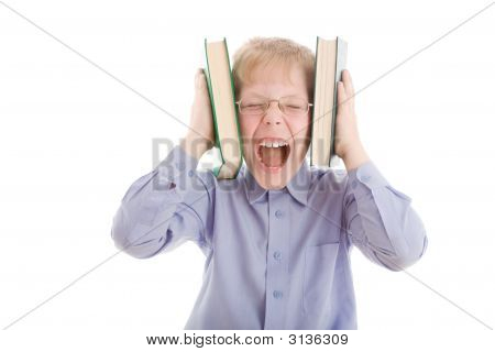 Boy Squeeze Head By Two Books And Scream