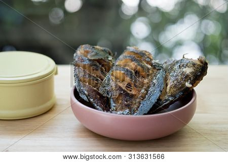 Fried Trichogaster Pectoralis, Food Products From Thailand.
