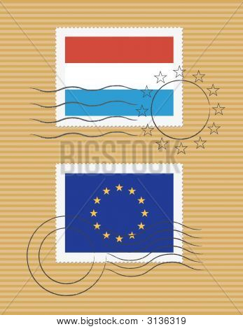 Luxembourg And Eu - Stamps With Flag