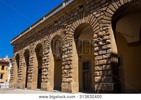 Detail Of The Facade Of The Famous Renaissance Palazzo Pitti In Florence