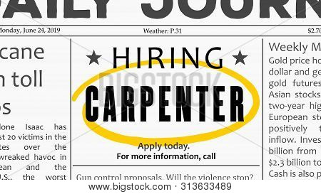 Carpenter Job Offer. Newspaper Classified Ad Career Opportunity.