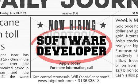 Software Developer Career - Job Offer. Newspaper Classified Ad Career Opportunity.