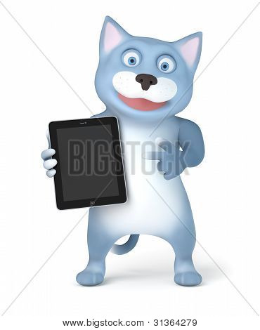 Cat with tablet pc
