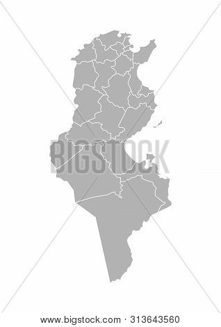 Vector Isolated Illustration Of Simplified Administrative Map Of Tunisia. Borders Of The Governorate