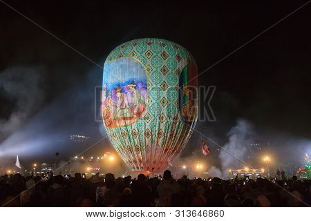Taunngyi, Myanmar, November 23 2018 - The Hot Air Balloon Festival In Taunggyi Is A Four Day Festiva