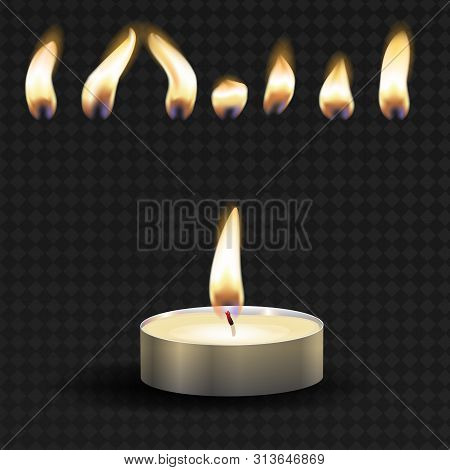Vector 3d Burning Realistic Candle Light Or Tea Light And Different Flame Of A Candle Icon Set Close
