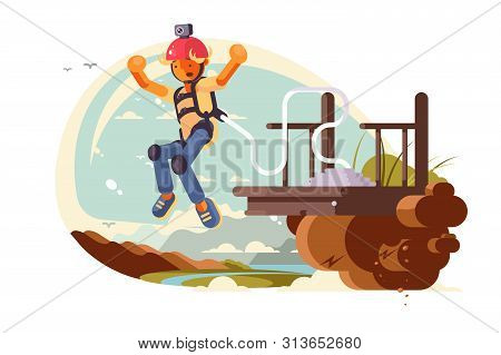 Bungee Jumping Sport Vector Illustration. Cartoon Extreme
