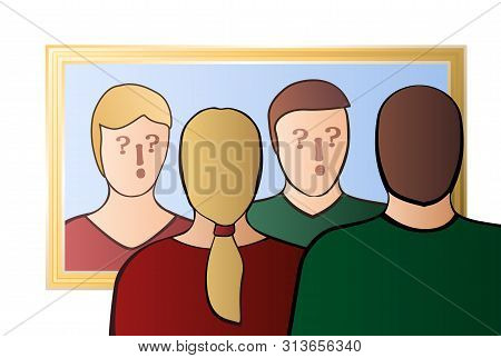 Uncertain Couple Looking In The Mirror. Uncertainty, Alienation, Identity Crisis, Self-doubts, Skept