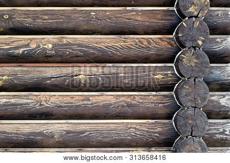 Wall Of Log House Background. Dark Brown Burnt Wooden Texture. Copy Space. Place For Custom Text. Ho