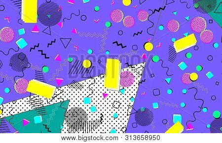 Pop Art Color Background. Memphis Pattern Of Geometric Shapes For Tissue And Postcards. Vector Illus
