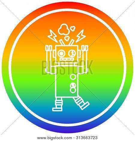 malfunctioning robot circular icon with rainbow gradient finish
