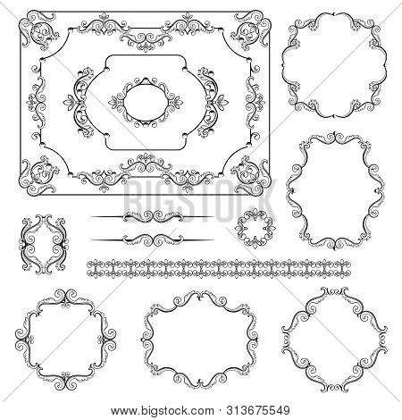 Mega set collections of vintage design elements. Royalty frames, border, dividers in black color on white. Vector illustration. Can use for valentine and birthday card, wedding invitations. poster