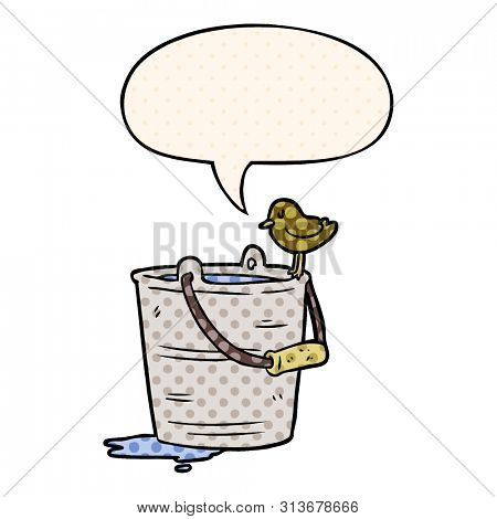 cartoon bird looking into bucket of water with speech bubble in comic book style