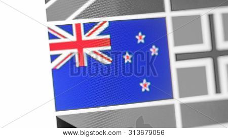 New Zealand National Flag Of Country. New Zealand Flag On The Display, A Digital Moire Effect. News