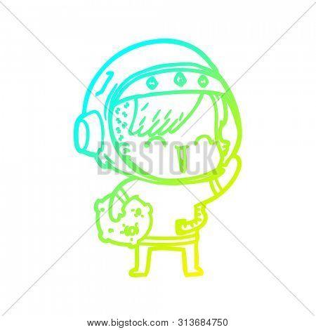 cold gradient line drawing of a cartoon happy spacegirl holding moon rock