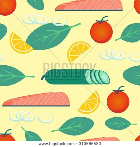 Healthy Food On Yellow Background. Background Image. Decoupage Paper. Vector Illustration. Organic F