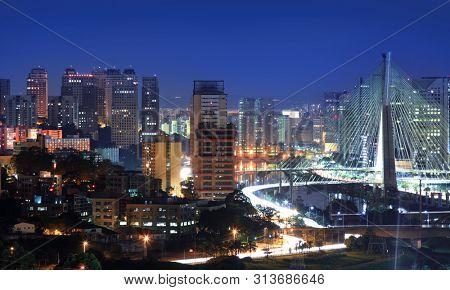 Estaiada Bridge, major landmark in Sao Paulo,Brazil.On May 03, 2015 Sao Paulo, Brazil.