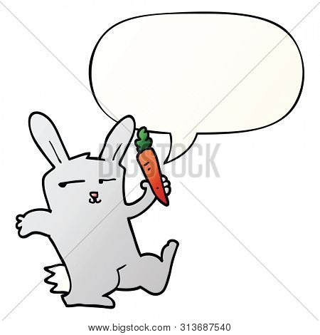 cartoon rabbit with carrot with speech bubble in smooth gradient style