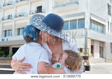 Sibling Background. Positive Emotions Concept. Family Relationships. Mother Showing Feelings To Chil