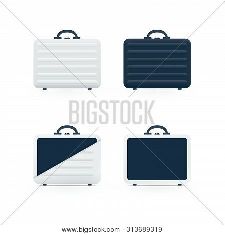 Open And Closed Briefcases On White Background. Bag Vector Icons.