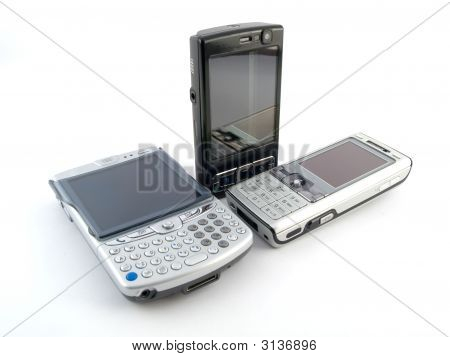 Modern Mobile Phones On White Background