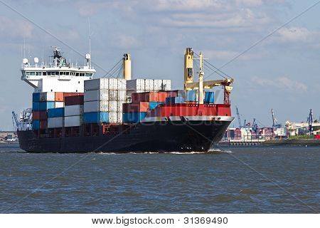 Containership On The River Leaving Port