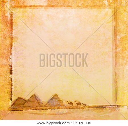 old paper with pyramids giza , raster