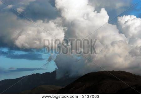 Dangerous thunderstorm clouds above mount Athos Halkidiki Greece Monk`s republic poster