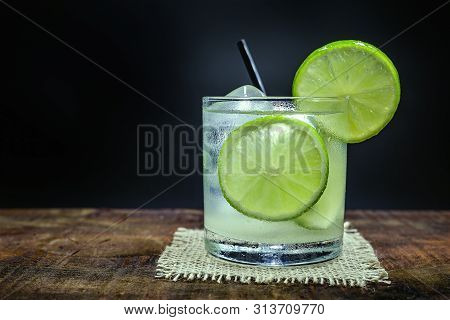 Lemon Fruit Lime Caipirinha Of Brazil On Grey Vintage, Brazilian Traditional Drink, Isolated With Sp