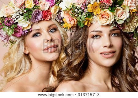 Fashion Models Flowers Hairstyle Beauty Portrait, Two Beautiful Women Studio Shot With Rose Flower I
