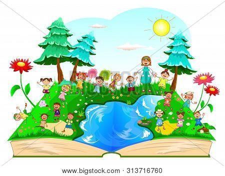 Joyful Children For A Walk In Nature. Children On A Walk Outside The City. Joyful Little Kids And A