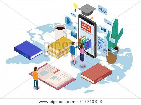 Online Education Isometric Icons Composition With Little People Taking Books From Smartphone Electro