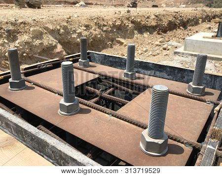 Formwork And Reinforcement Of Concrete Reinforced Foundation With Metal Anchor Bolts Designed For Th